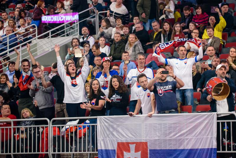 Fans of team Slovakia, during game between team Latvia and team Slovakia royalty free stock photo