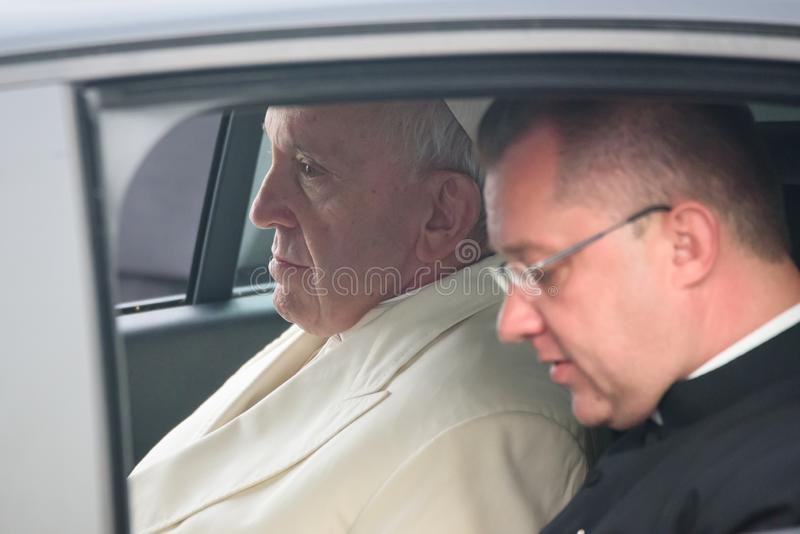 His Holiness Pope Francis sitting at car. 24.09.2018. RIGA, LATVIA. His Holiness Pope Francis arriving at Riga International Airport royalty free stock photos