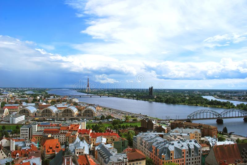 The aerial view of the old historical center of Riga royalty free stock photography