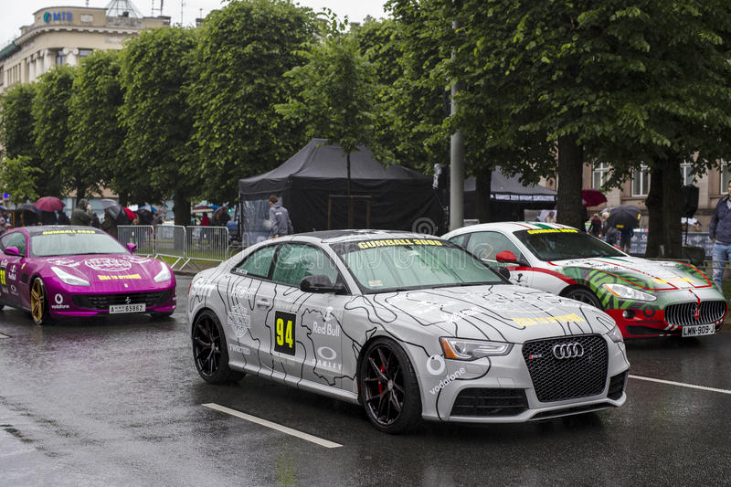 Riga, Latvia - July 01, 2017: Audi RS5 2013 from Gumball 3000 race Riga to Mykonos is on display. Riga host Gumball 3000 royalty free stock images