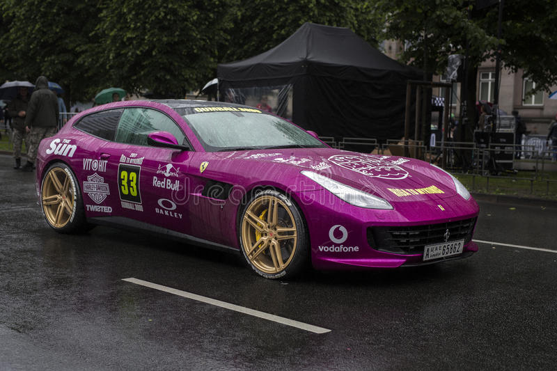 Riga, Latvia - July 01, 2017: Ferrari GTC4 Lusso 2017 from Gumball 3000 race Riga to Mykonos is on display. Riga host stock images