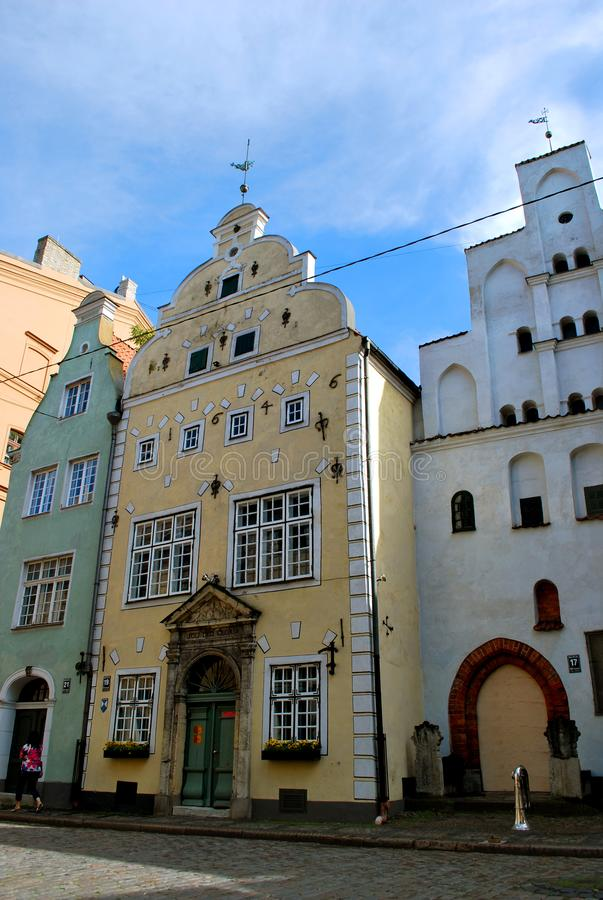 The Houses Three Brothers in the old historical center of Riga stock images