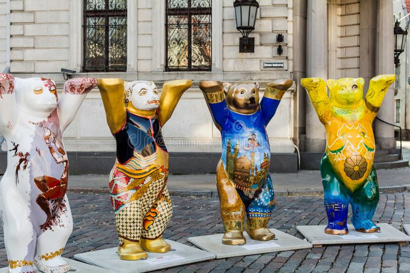 India, Indonesia, Iraq and Iran bears at United Buddy Bears exhibition royalty free stock photos