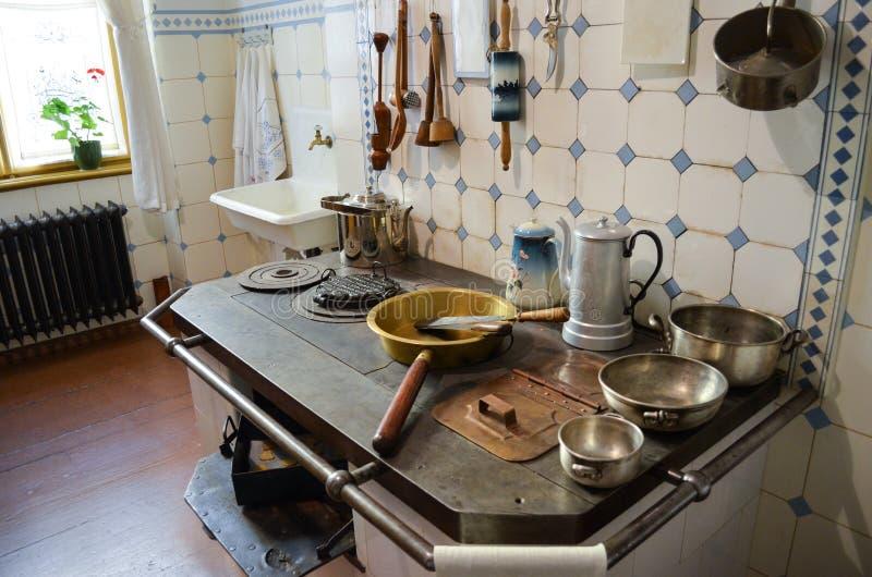 Riga, Latvia - July 6, 2012 - Museum of Art Nouveau. Interior of vintage kitchen stock photography