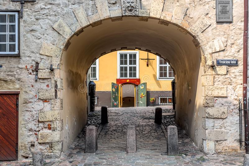 Riga, Latvia - July, 2018: Swedish Gate in the old city of Riga. Old Arch Of Swedish Gate on Troksnu Street in old Town of Riga stock photos