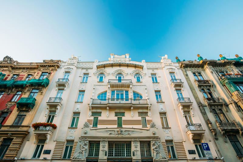 Riga, Latvia La facciata di Art Nouveau Building anziano ha progettato da Mikhail Eisenstein su 4 Alberta Street immagine stock libera da diritti