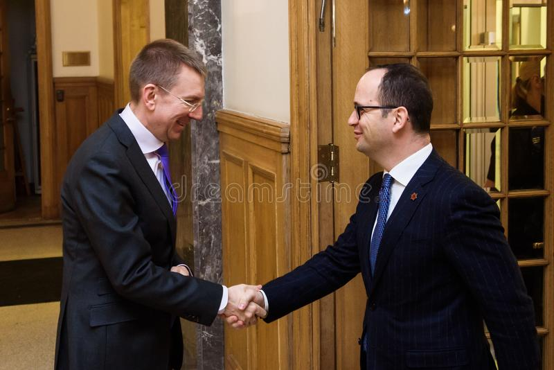 Edgars Rinkevics and Ditmir Bushati stock image
