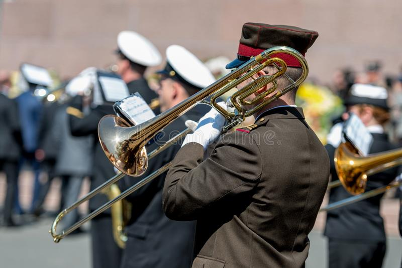 RIGA, LATVIA - MAY 4, 2016: Restoration of Independence Day. Army brass band played solemn celebration event.  royalty free stock photo