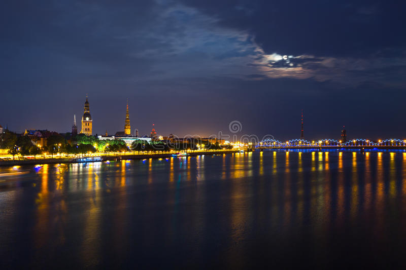 Riga, Latvia. Old center of Riga, Latvia at night royalty free stock images