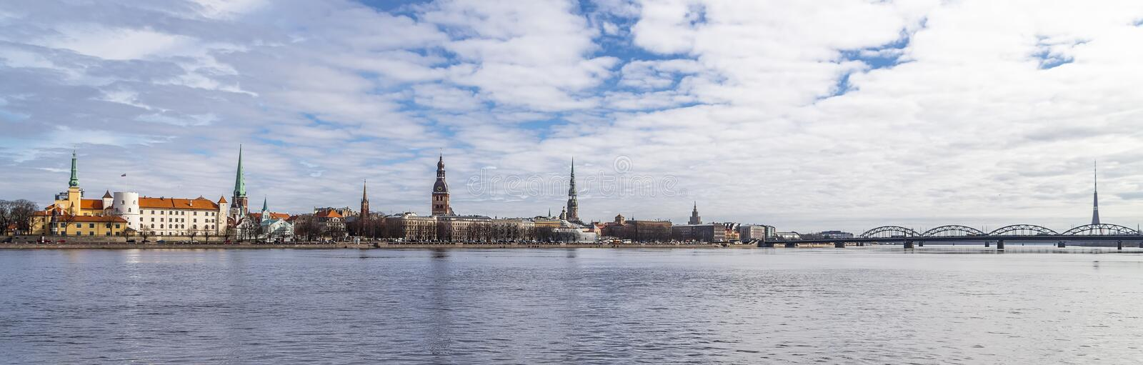 Riga, Latvia - panoramic view of the historical center of the city of Riga royalty free stock image