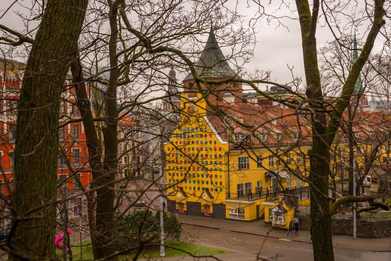 RIGA. LATVIA: Powder tower and Jacob`s Barracks building showing coats of arms for Latvian parishes, Tornu Street, old town stock images