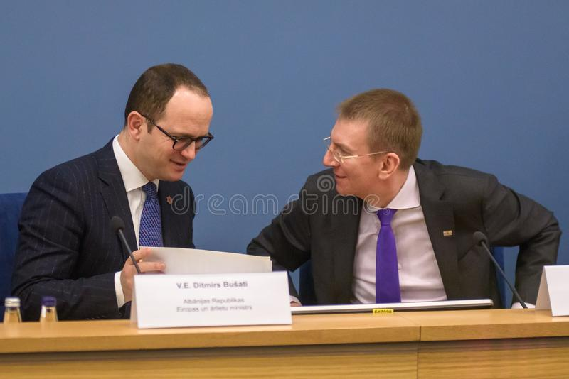 Ditmir Bushati and Edgars Rinkevics. royalty free stock images
