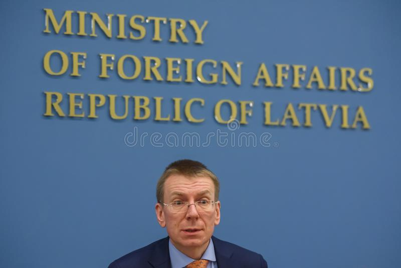 Edgars Rinkevics, Minister of Foreign Affairs of Latvia. 22.02.2018. RIGA, LATVIA. Press conference at Latvian Ministry of Foreign Affairs - U.S. Deputy stock photography