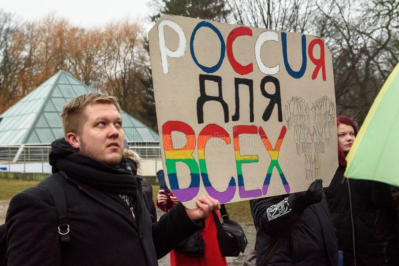 Protest action to show solidarity with Chechnya's LGBT. 04.03.2019. RIGA, LATVIA. Protest action to show Latvia's condemnation of inaction by the stock images
