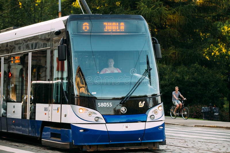 Riga, Latvia. Public modern tram with the number of the sixth ro stock photos