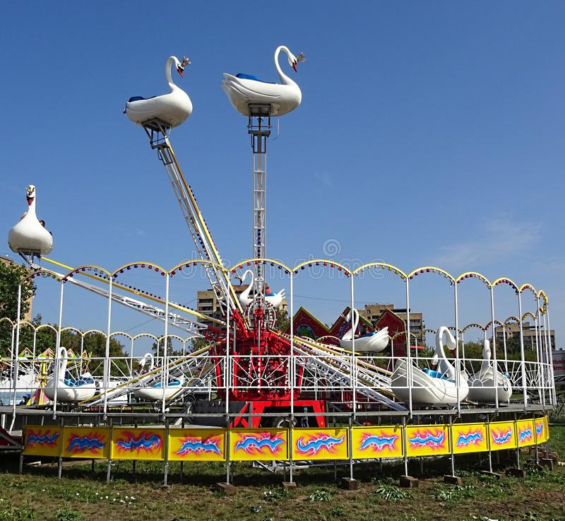 Children Kids Relaxing Recreation Center White Swan Swans Birds Carousel Attraction Park Outdoor in The City. Family Weekends royalty free stock images