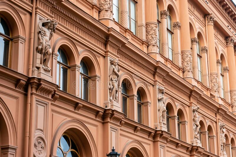 Riga, Latvia - September, 2019: The Riga Stock Exchange building in sunny day, facade of building. In art nouveau style royalty free stock images