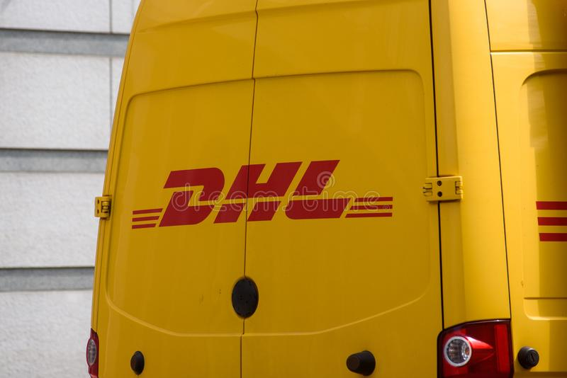 DHL logo on van. RIGA, LATVIA. 15th July 2019. DHL logo on van. DHL Dalsey, Hillblom and Lynn International GmbH is an international courier, parcel, and royalty free stock photo