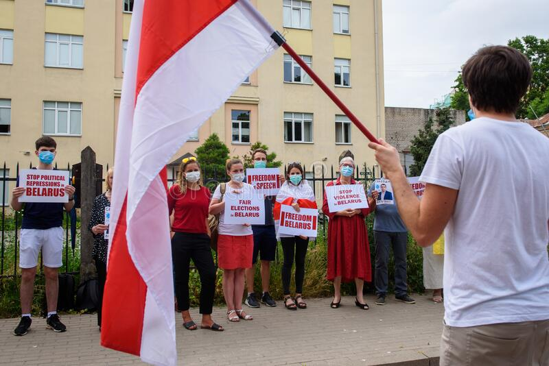 Protest against ongoing repressions in Belarus and call for free and fair elections  during upcoming Belarus President election. stock photo