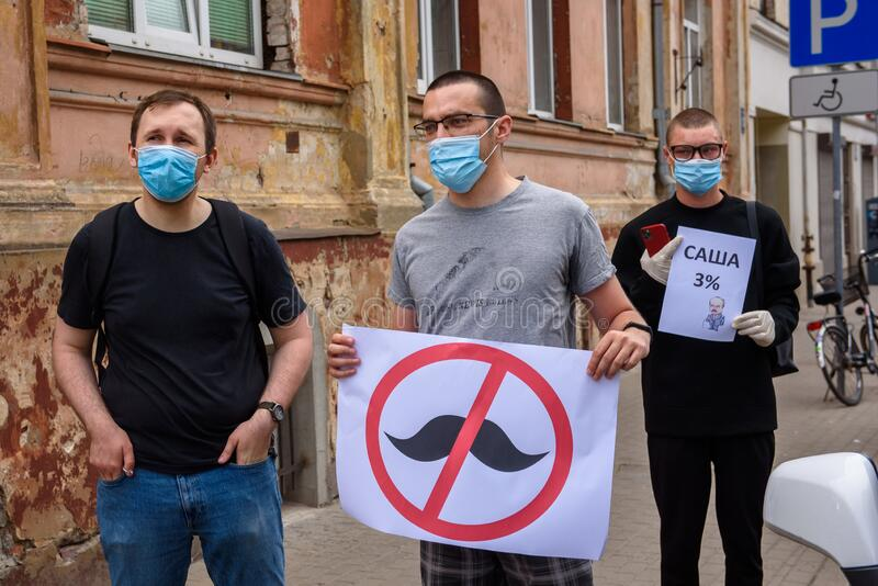 Protest against ongoing repressions in Belarus and call for free and fair elections  during upcoming Belarus President election. royalty free stock photo
