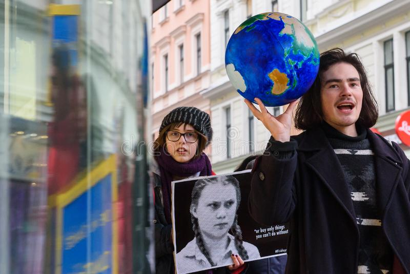 4th Global Climate strike and Black Friday protest in Riga, Latvia royalty free stock photography