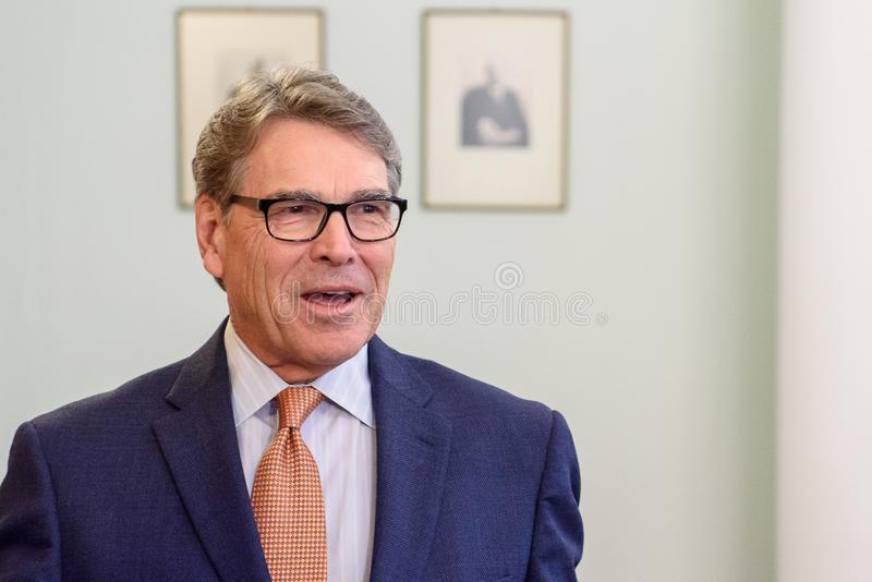 Rick Perry, United States Secretary of Energy. RIGA, LATVIA. 8th October, 2019.  Rick Perry, United States Secretary of Energy, discusses with Krisjanis Karins royalty free stock photos