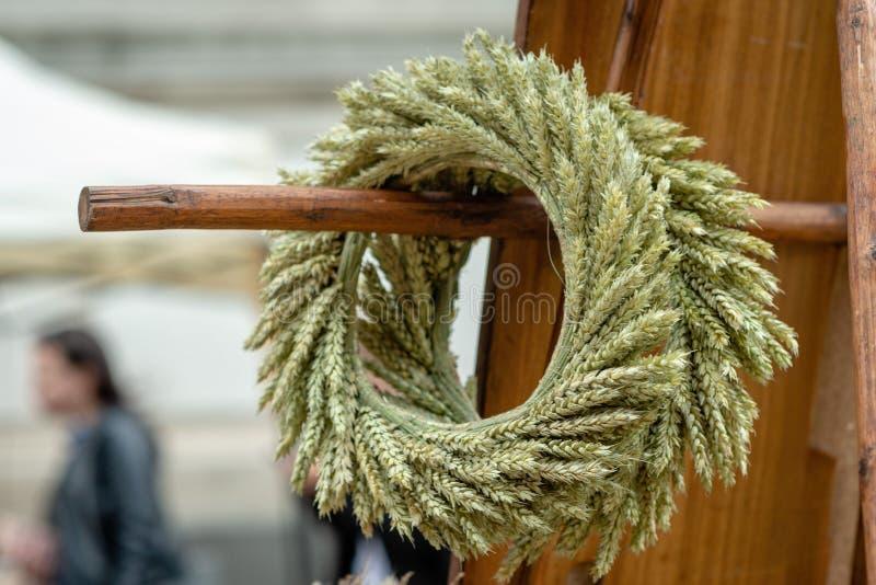 Riga. Latvia. From the wheat crop braided crowns in Ligo market royalty free stock photo