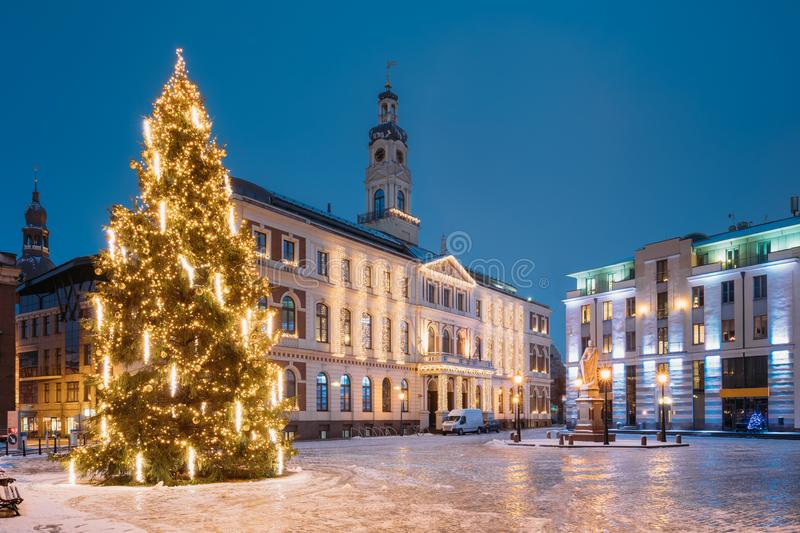 Riga, Latvia. Xmas Christmas Tree In Town Hall Square At Evening royalty free stock images