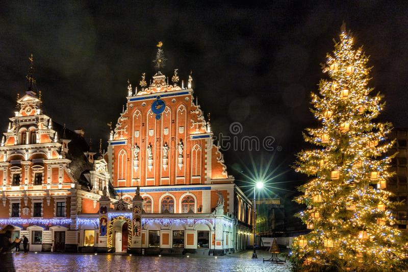 RIGA, LETÓNIA - 8 DE DEZEMBRO DE 2018: Árvore de Natal 2019 de Riga com a casa da igreja das pústulas e do St Peter imagem de stock royalty free