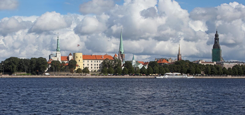 Riga, Letland. Mening van oude stad stock afbeelding
