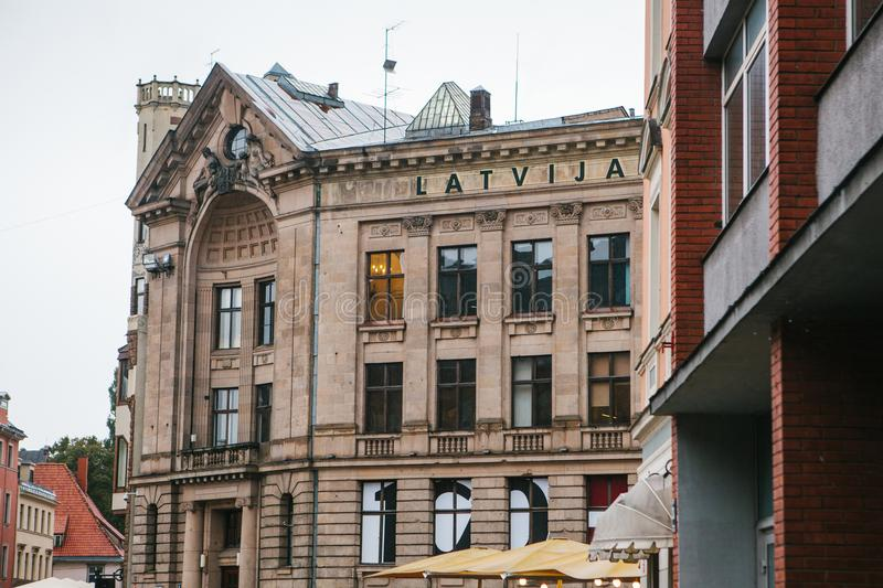 Riga, Letland 4 oktober 2017: Latvijas Radio of Letse openbare radiovennootschap royalty-vrije stock foto