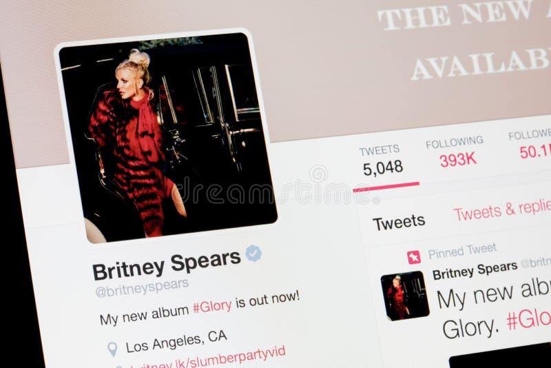 RIGA, LETONIA - 2 de febrero de 2017: Mundos perfil famoso de Britney Spears del cantante y del artista en Twitter imagen de archivo libre de regalías