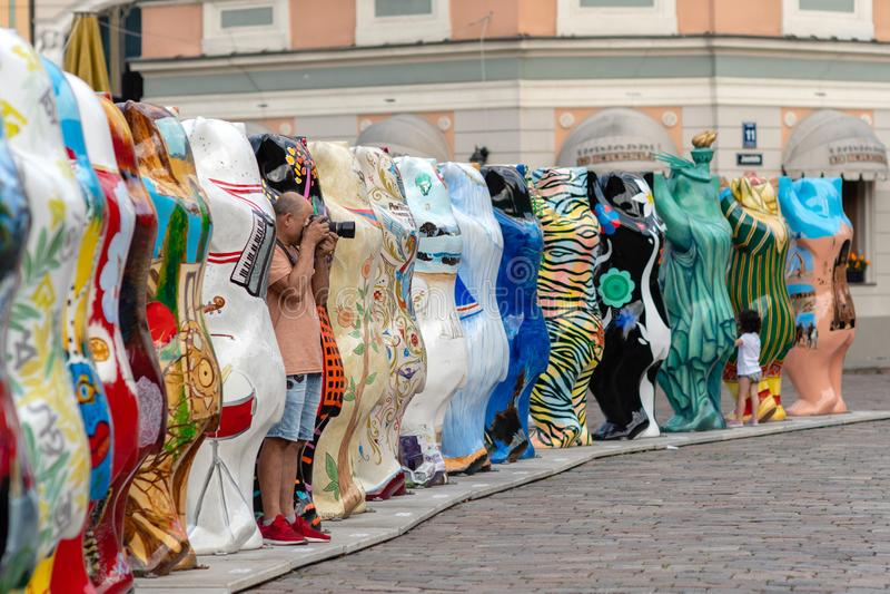 RIGA, LETTLAND - 26. JULI 2018: Vereinigte Buddy Bears-Ausstellung A.m. stockfoto