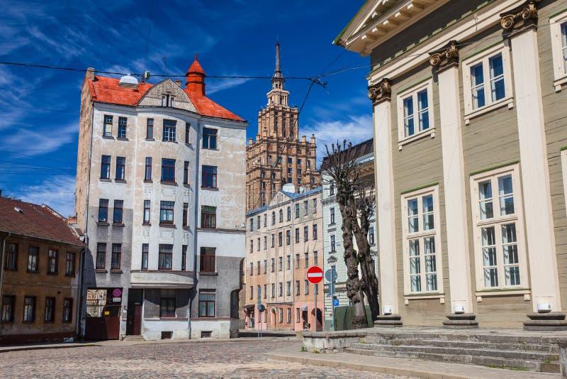 RIGA, LETTONIA - 6 MAGGIO 2017: Vista sul cuore di Riga di Jesus Evangelic Lutheran Church che è individuato nella città fotografie stock libere da diritti