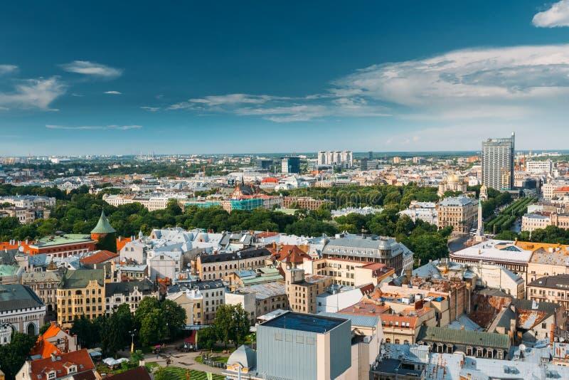 Riga, Lettonie Paysage urbain de Riga en Sunny Summer Day Vue supérieure de célèbre photographie stock