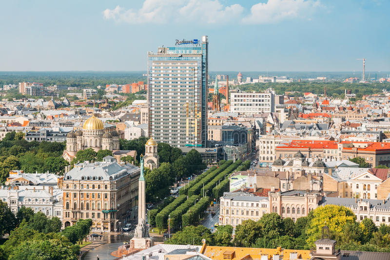 Riga, Lettonie Paysage urbain de Riga en Sunny Summer Day Vue supérieure de fa images stock