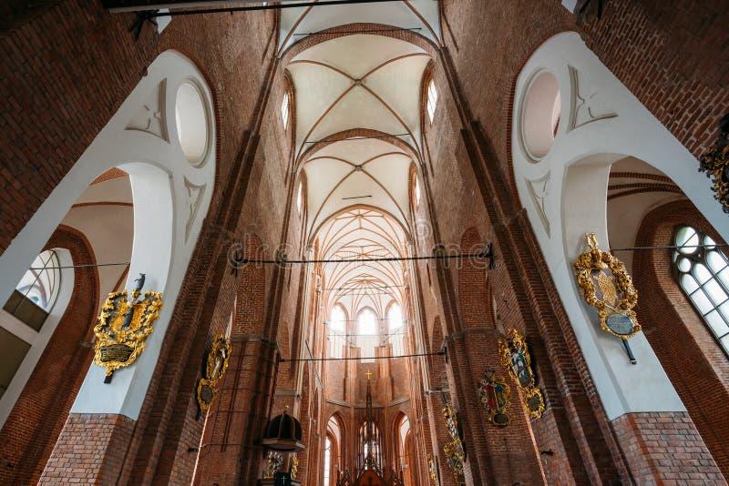 Riga Lettonie Plafond voûté gothique d'intérieur de St Peter ' ; église luthérienne évangélique de s, images libres de droits