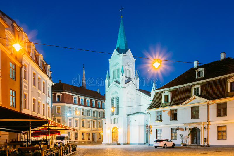 Riga Lettonie Vierge d'angoisse ou notre Madame Of Sorrows Church dessus photos stock