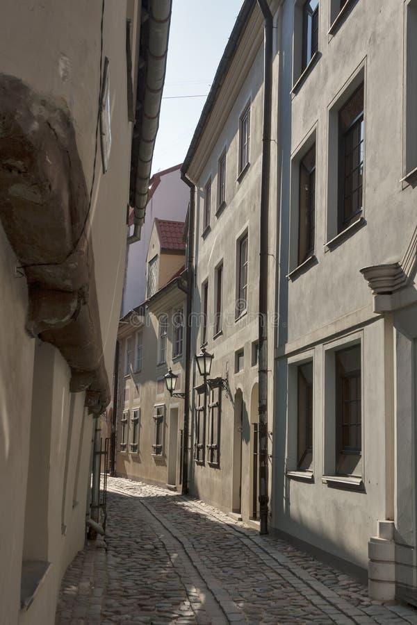 Riga narrow street stock photography