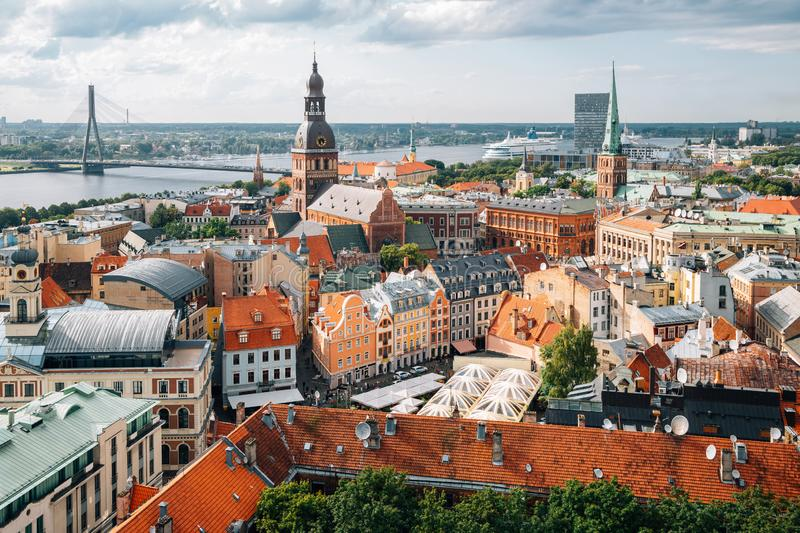 Riga old town panoramic view from St. Peter`s Church observatory in Latvia royalty free stock photo