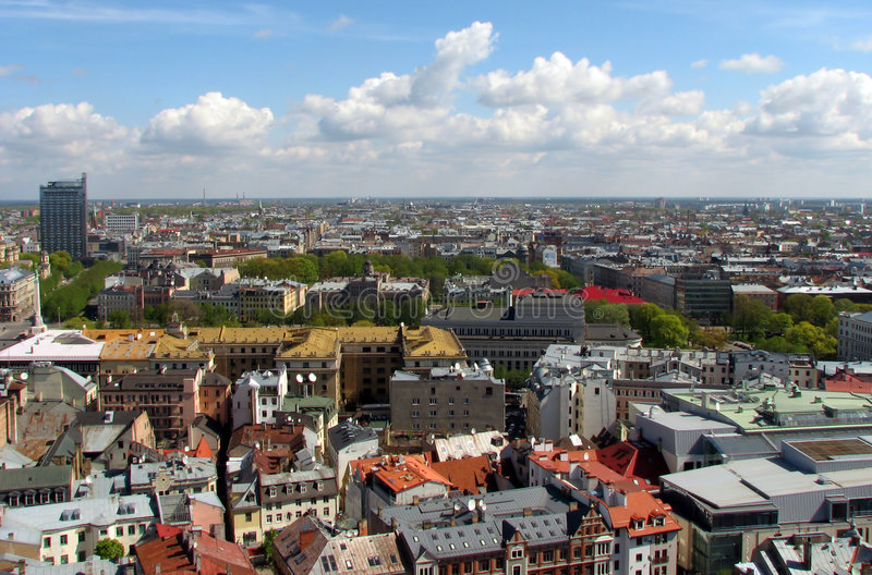 Riga panorama. View over Old Town of Riga, Latvia; from center to northeast stock photography