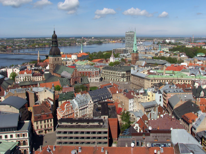 Riga panorama. View northwest over Old Town of Riga, Latvia royalty free stock image