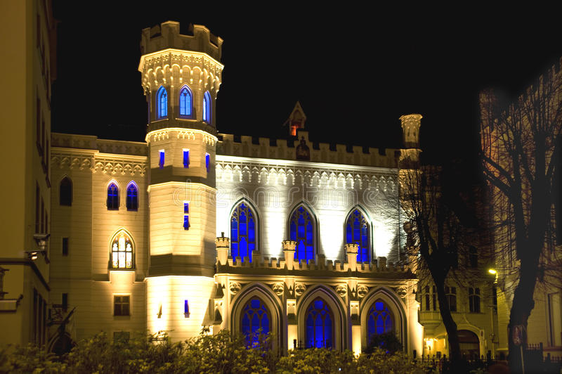 Riga, pequeño gremio en la noche imagen de archivo libre de regalías