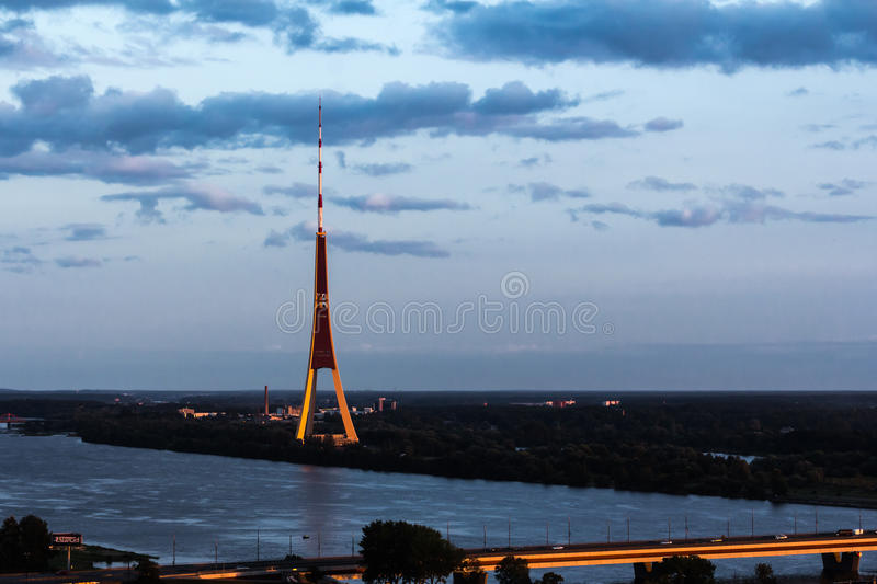 Riga Radio and TV Tower from the top of the Latvian Academy of stock image