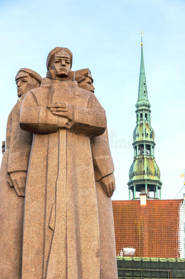 Riga Red Riflemen 01. The red riflemen of Riga monument that commemorates Lenin's private Latvian bodyguards royalty free stock images