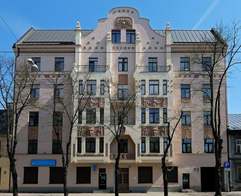 Riga, rue 54, Art Nouveau de Miera photo libre de droits