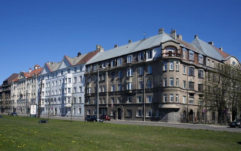 Riga, rue de l'exportation 3-5, bloc près du port photos stock