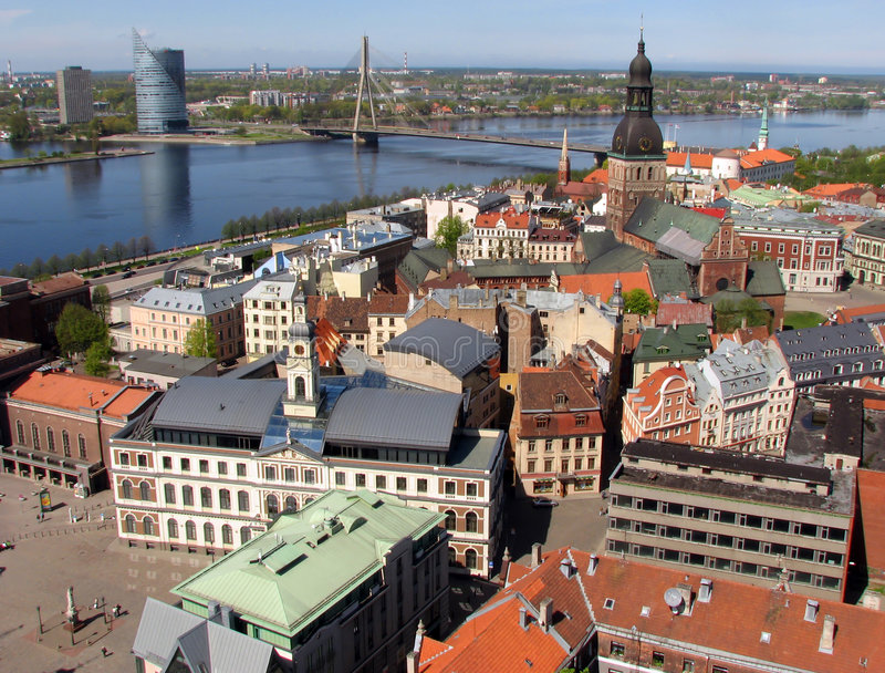 Riga on the shores of Daugava. View northwest over Old Town of Riga, Latvia royalty free stock photography
