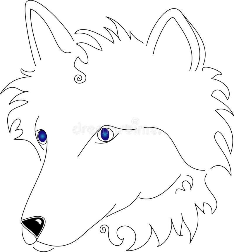 Riga stilizzata lupo bianco di arte illustrazione vettoriale