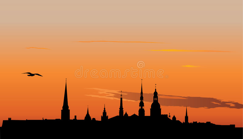 Riga_sunrise stock de ilustración